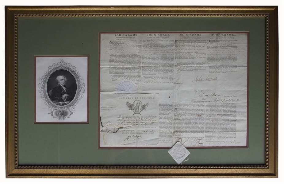John Adams 4-Language Ship's Papers Signed as President -- With French Certification Attached to Document, Dated Less Than One Month Before the French-American Naval ''Quasi-War'' Erupted