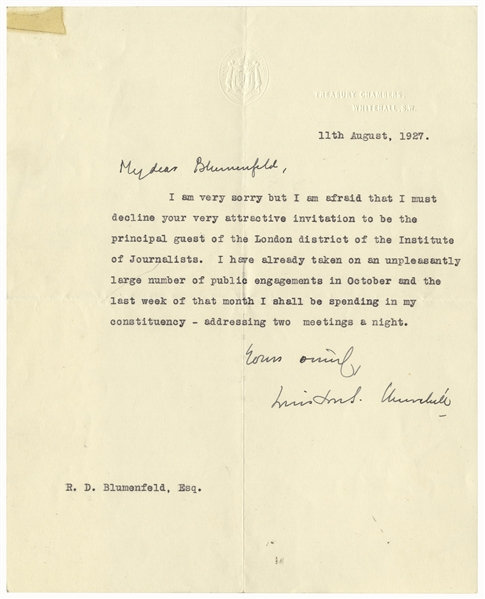 Winston Churchill Letter Signed From 1927 -- ''...I have already taken on an unpleasantly large number of public engagements...''