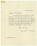 Winston Churchill Letter Signed From 1927 -- ...I have already taken on an unpleasantly large number of public engagements...
