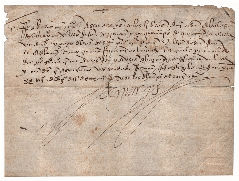 Hernán Cortés Letter Signed From 1534 When Cortés Was Settling Baja, California