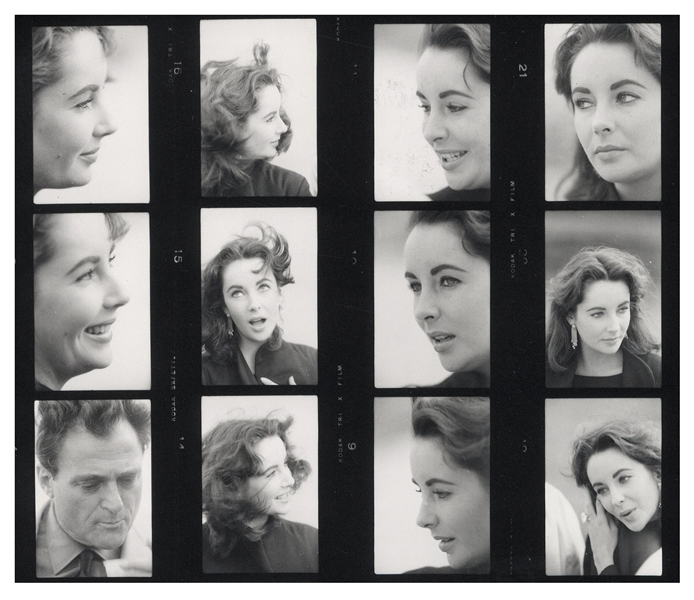 Extraordinary Lot of Images of Elizabeth Taylor From the Late 1950s and Early 1960s -- Over 150 Negatives & 7 Contact Sheets -- Playful Images of Taylor With Both Mike Todd & Eddie Fisher