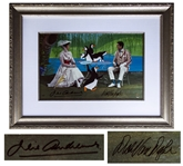 Julie Andrews & Dick Van Dyke Signed Limited Edition Mary Poppins Artwork by Disney -- Created From Original Disney Animation Drawings -- One of the 15 Very Rare HC Editions