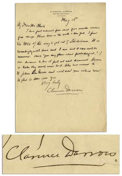 Clarence Darrow Autograph Letter Signed Regarding Prohibition -- ''...the way to get rid of Volsteadism...''