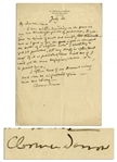 Clarence Darrow Autograph Letter Signed Regarding Prohibition