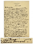 Clarence Darrow Autograph Letter Signed -- Regarding His Disdain for Prohibition -- ...I could write one or two stories on the values...of repealing the 18th Amendment...