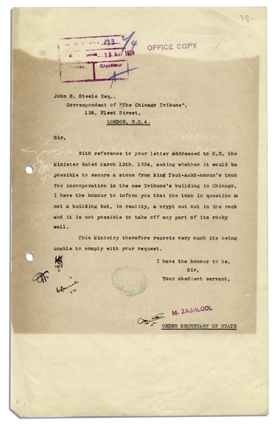 1924 Letter Signed From the Egyptian Government Regarding the Excavation of King Tut's Tomb -- ''...stone from king Tout-Ankh-Amoun's tomb...a crypt cut out in the rock...''