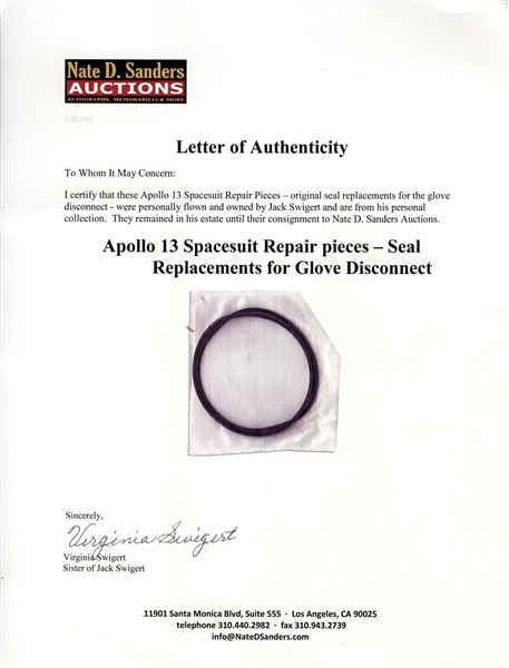 Jack Swigert Personally Owned Apollo 13 Spacesuit Repair Pieces -- Original Seal Replacements for the Glove Disconnect, Flown on Apollo 13