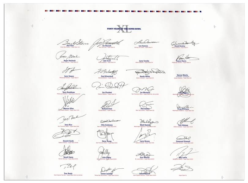 Super Bowl MVP Poster Signed by Every Living MVP in 40 Years of the Super Bowl -- From 1967-2006