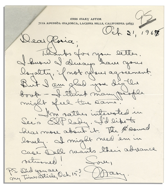 Mary Astor 1967 Autograph Letter Signed -- To Her Agent, Regarding Her Upcoming Novel, ''A Place Called Saturday''