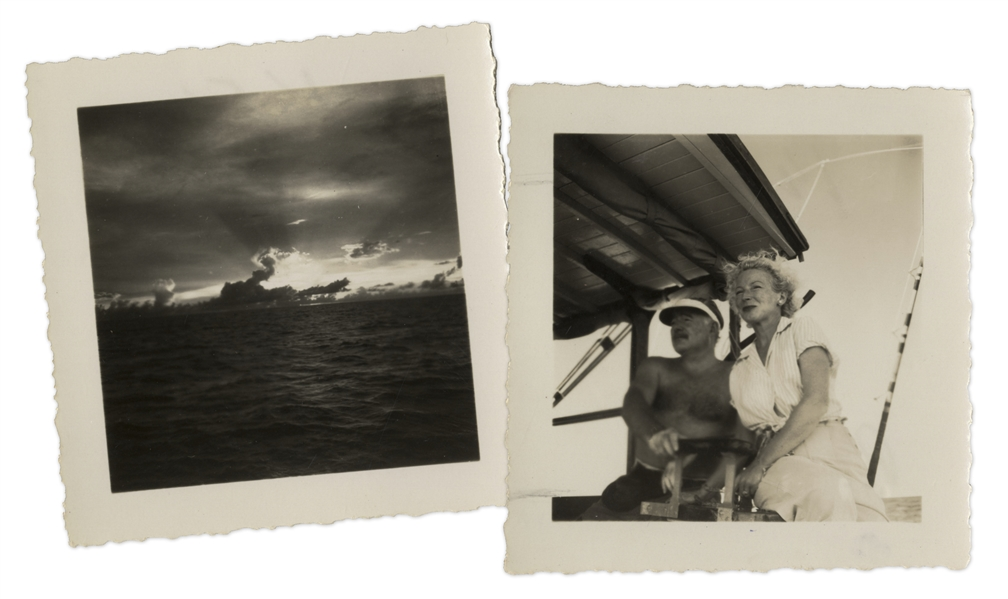 Dramatic Photo of Ernest Hemingway, Charting His Boat ''Pilar'' With Mary Hemingway -- With a Second Photo of the Ocean -- Both From the Collection of Hemingway's Friend, Roberto Herrera
