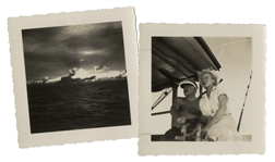 Dramatic Photo of Ernest Hemingway, Charting His Boat Pilar With Mary Hemingway -- With a Second Photo of the Ocean -- Both From the Collection of Hemingways Friend, Roberto Herrera