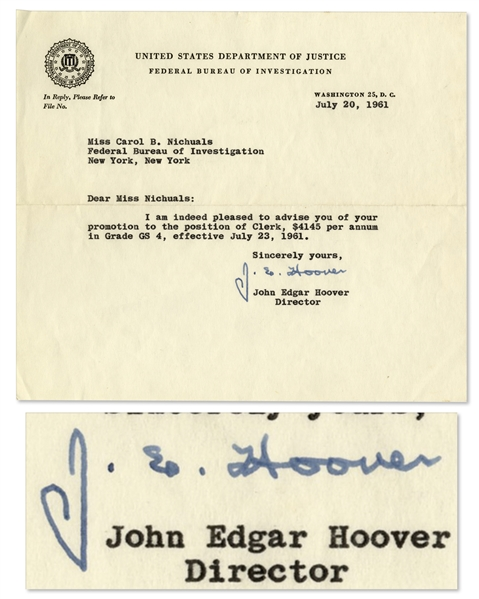 J. Edgar Hoover Memo Signed -- on F.B.I. Letterhead