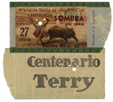 Ernest Hemingways Own Bullfighting Ticket From 27 July 1959 -- From the Plaza de Toros de Valencia -- Hemingway Wrote About the Bullfights of 1959 in His Final Book