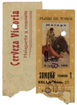 Ernest Hemingways Own Bullfighting Ticket From 9 August 1959 -- From the Plaza de Toros in Malaga, Spain -- Hemingway Wrote About the Bullfights of 1959 in His Final Book