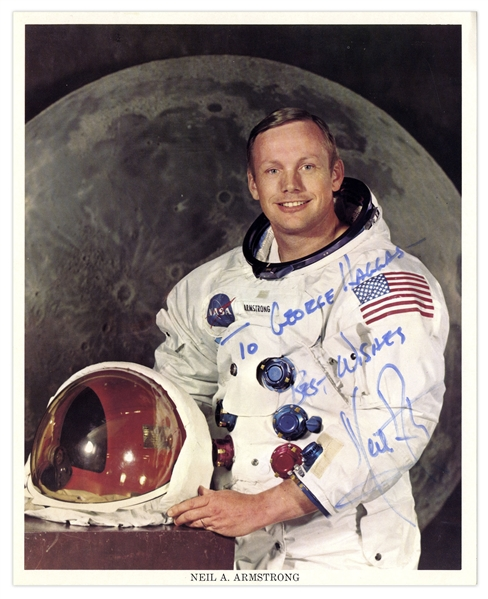 Neil Armstrong 8'' x 10'' Signed Photo -- Near Fine