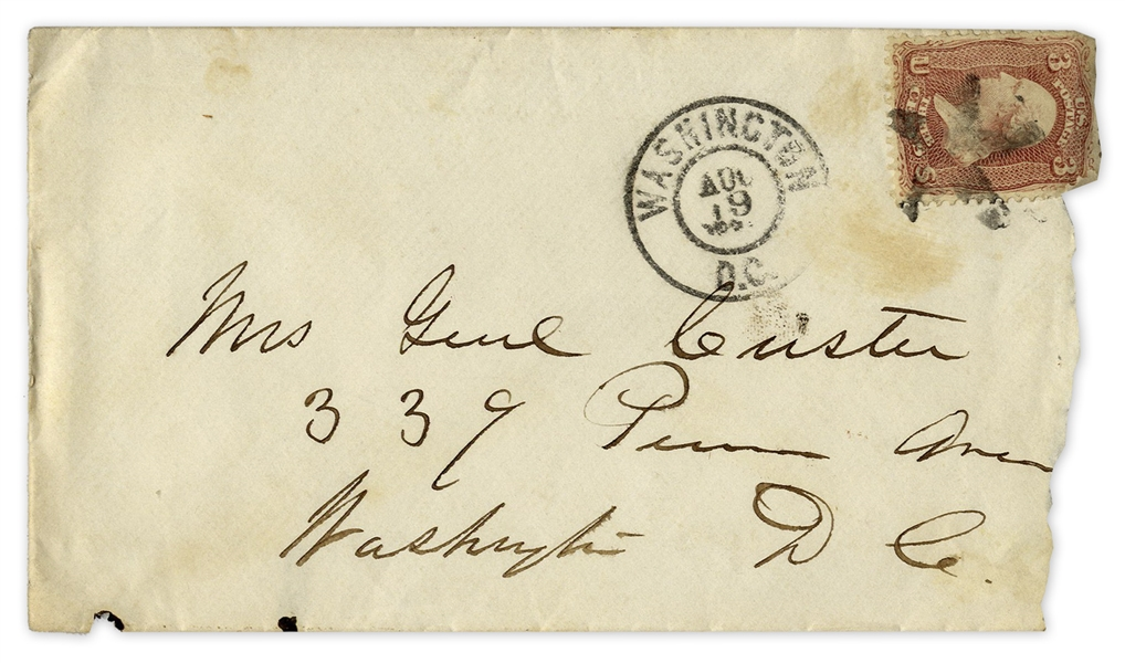 George Custer Envelope Signed, Handwritten to His Wife