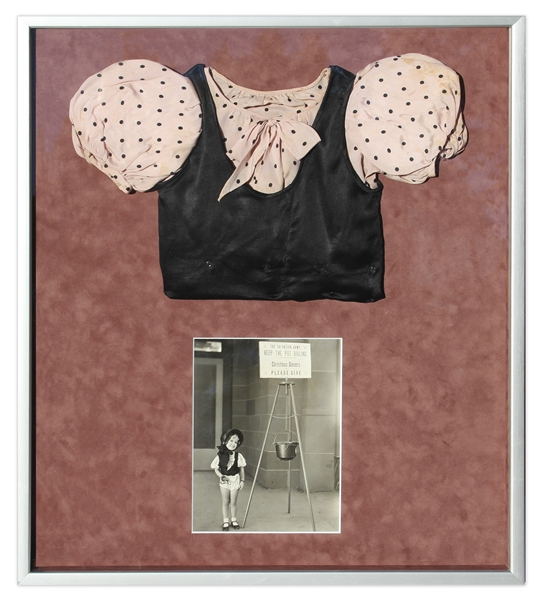 Shirley Temple Screen-Worn Blouse From 1933 Film ''The Kid's Last Fight'' -- Framed Presentation