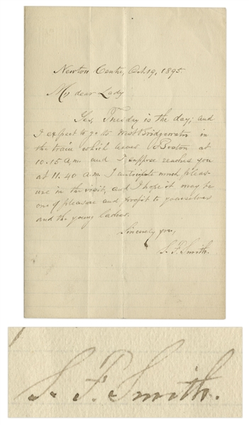 Samuel Francis Smith Autograph Letter Signed From 1895 -- Believed to be the Last Letter He Wrote