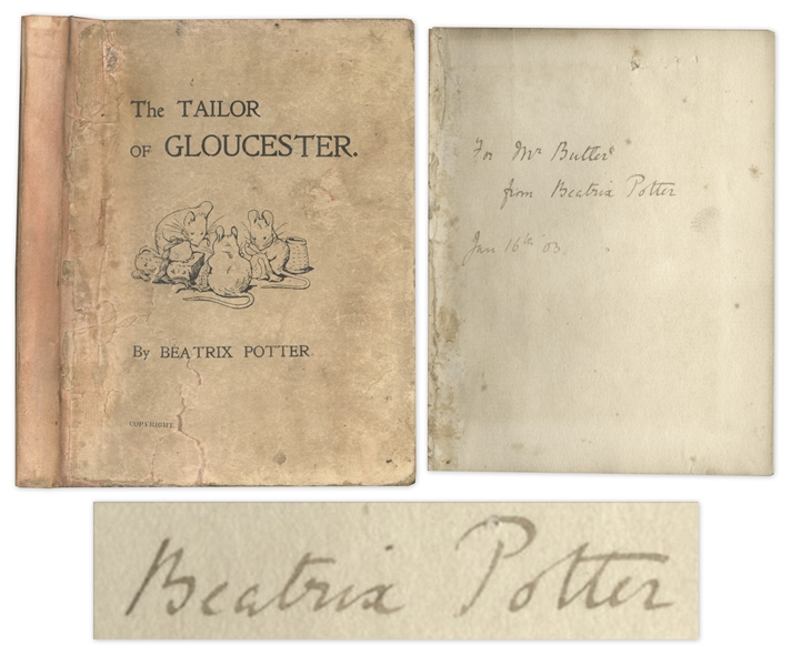 Beatrix Potter Signed 1902 First Edition, First Impression of ''The Tailor of Gloucester'' -- Very Rare