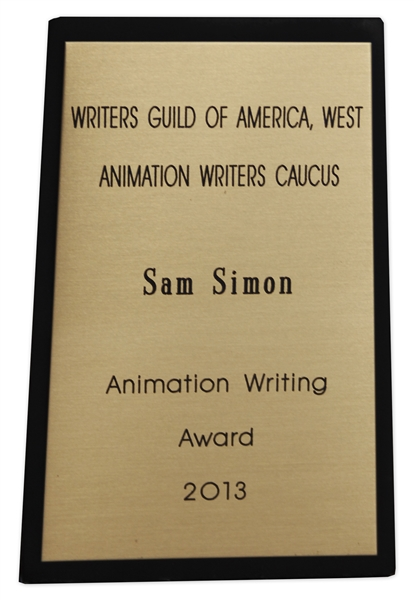 Writers Guild of America Award Presented to Sam Simon in 2013 -- Co-Creator of ''The Simpsons'' -- From the Sam Simon Estate
