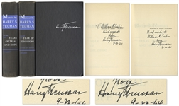 Harry Truman Signed Copy of His Memoirs -- Both Volumes Signed by Truman