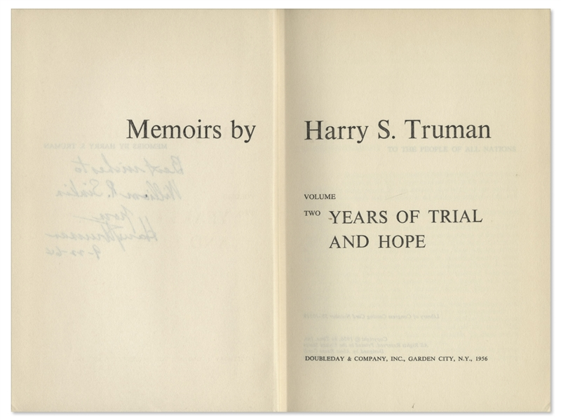 Harry Truman Signed Copy of His ''Memoirs'' -- Both Volumes Signed by Truman