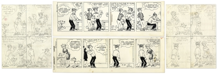 2 Chic Young Hand-Drawn Blondie Comic Strips From 1971 -- With Chic Youngs Original Preliminary Artwork for Both