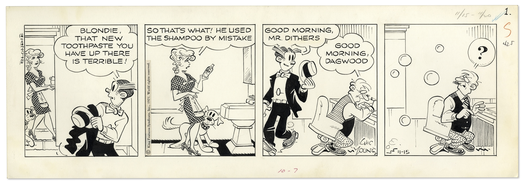 2 Chic Young Hand-Drawn ''Blondie'' Comic Strips From 1971 -- With Chic Young's Original Preliminary Artwork for Both