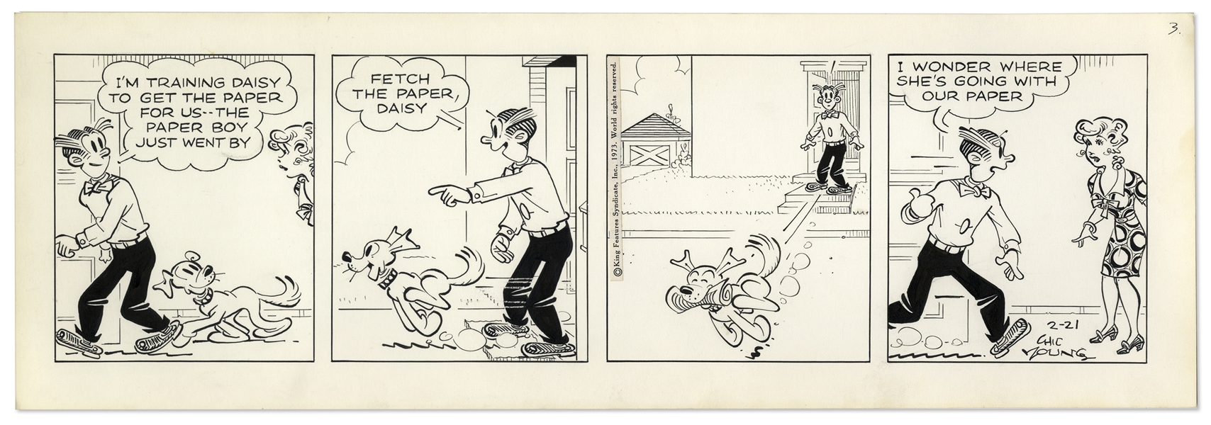 2 Chic Young Hand-Drawn ''Blondie'' Comic Strips From 1973 -- With Chic Young's Original Preliminary Artwork for Both