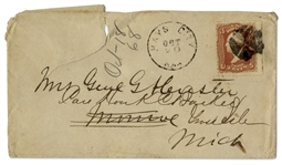 George Custer Envelope Made Out in His Hand to his Wife -- Mrs. Genl GA Custer