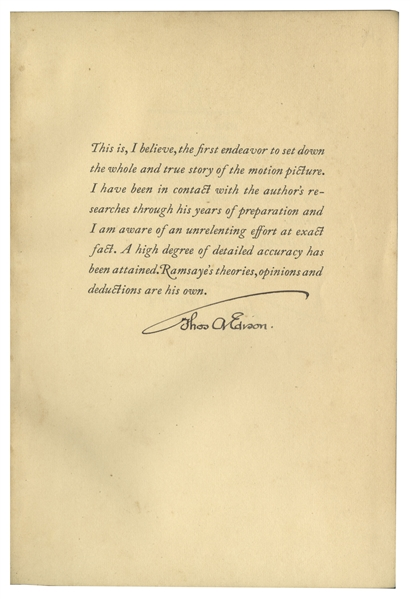 Thomas Edison Signed Copy of ''A Million And One Nights: A History of The Motion Picture''