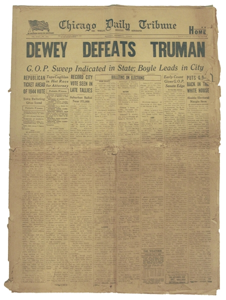 ''Dewey Defeats Truman'' Newspaper -- The Most Famous Newspaper Mistake of All Time