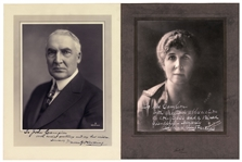 Set of Two 10 x 13 Signed Photos by Warren Harding & Florence Harding