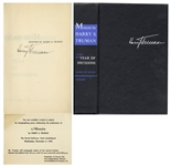 Harry Truman Signed Memoirs -- Uninscribed -- With Rare Invitation Card to Attend the 1955 Autographing Party With Truman