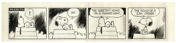 Charles Schulz Hand-Drawn Comic Strip From 1974 Featuring Snoopy