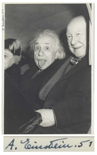 albert einstein autograph The Most Famous Photo of Albert Einstein, Playfully Sticking Out His Tongue -- Extraordinarily Rare as Signed by Einstein