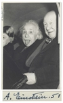 The Most Famous Photo of Albert Einstein, Playfully Sticking Out His Tongue -- Extraordinarily Rare as Signed by Einstein