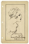 Howard Chandler Signed Illustration of His Famous Christy Girl -- Elegant Portrait Measures 6 x 9.5