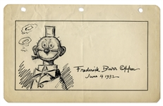 Frederick Burr Opper Original Hand-Drawn Illustration of Happy Hooligan -- Measures 9.5 x 6