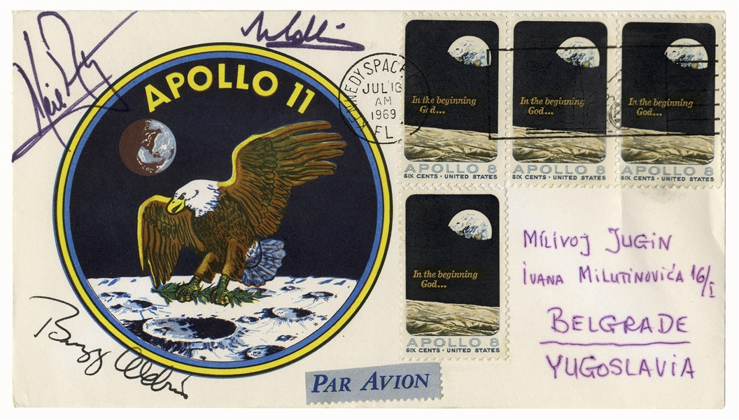 Apollo 11 First Day Cover Boldly Signed by Neil Armstrong, Buzz Aldrin and Michael Collins -- With Steve Zarelli COA