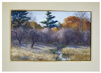 Aiden Lassell Ripley Landscape Painting of Woodcock Shooting: Woods and Meadow Brook