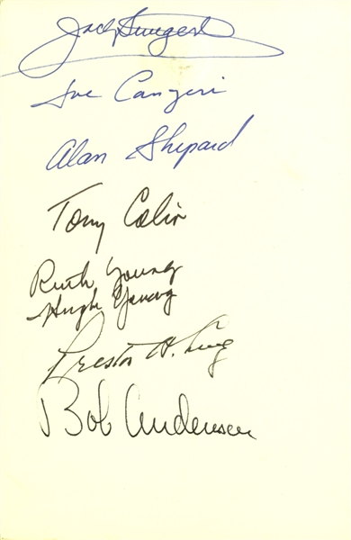 Alan Shepard & Jack Swigert Signed Menu From an Event at the Reagan White House