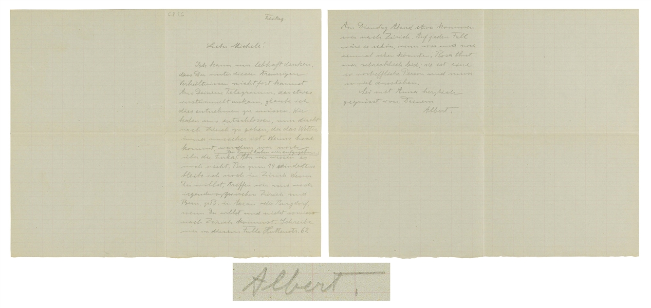 Albert Einstein Autograph Letter Signed -- Einstein Writes to His Closest Friend, Michele Besso, Offering Condolences to Besso's Family, Who Suffered a Tragic Death