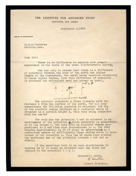 albert einstein autograph Remarkable Letter Signed by Albert Einstein, Along With His Initialed Drawings -- Explaining the Science Behind His Groundbreaking Work on Electrostatic Theory and Special Relativity