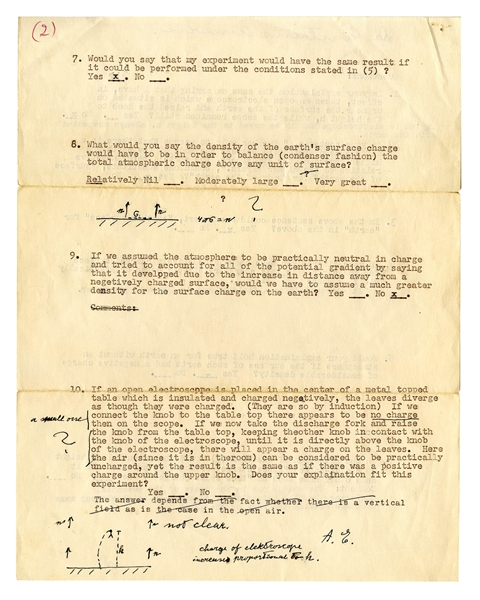 Remarkable Letter Signed by Albert Einstein, Along With His Initialed Drawings -- Explaining the Science Behind His Groundbreaking Work on Electrostatic Theory and Special Relativity