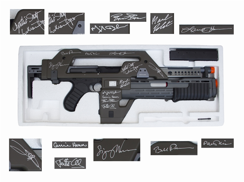 Aliens Memorabilia ''Aliens'' Cast Signed M41A Pulse Rifle -- Signed by 12 Key Cast Members Including Sigourney Weaver and Bill Paxton