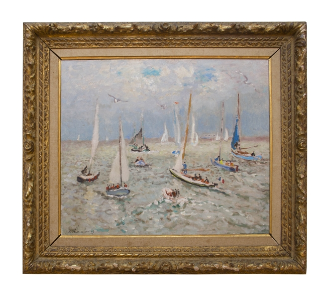 French Impressionist Andre Hambourg Painting Entitled ''Temps Doux Pour Les Yachts, Deauville''