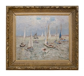 French Impressionist Andre Hambourg Painting Entitled Temps Doux Pour Les Yachts, Deauville
