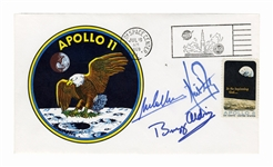Apollo 11 Crew-Signed Type Three Insurance Cover -- Signed by Neil Armstrong, Buzz Aldrin and Michael Collins