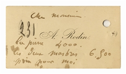 Auguste Rodin Calling Card With His Initialed, Hand-Annotated Notes Regarding Pricing for His Art